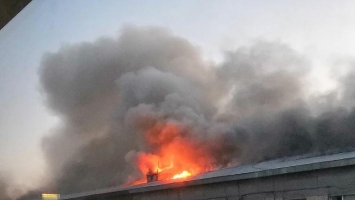 В Тольятти 60 человек тушили крупный пожар в производственном здании