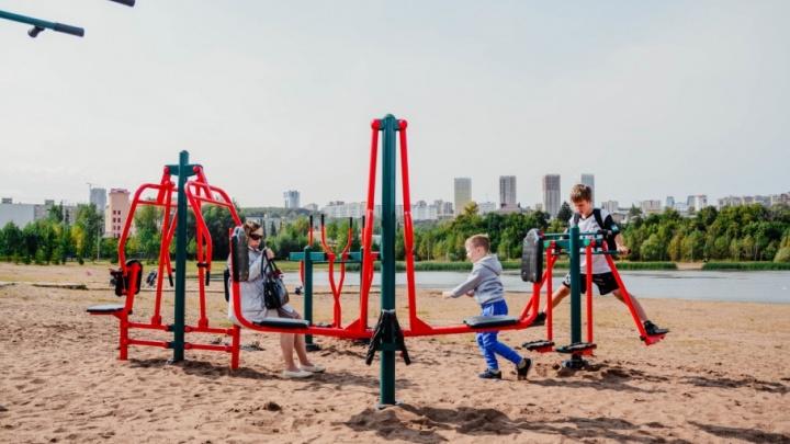В уфимском парке «Кашкадан» появился комплекс уличных тренажеров
