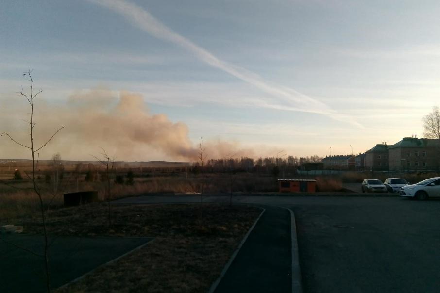 Поле возле «Белого хутора», загоревшееся около семи часов вечера, не могут потушить до сих пор