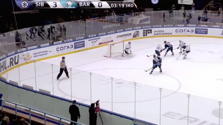 Видео: гол нападающего «Сибири» во время «сухого» матча с «Барысом» стал лучшим за неделю