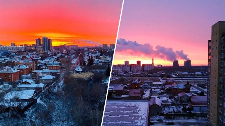 Огненно-красный и сиреневый, как лаванда: любуемся умопомрачительным рассветом над Тюменью