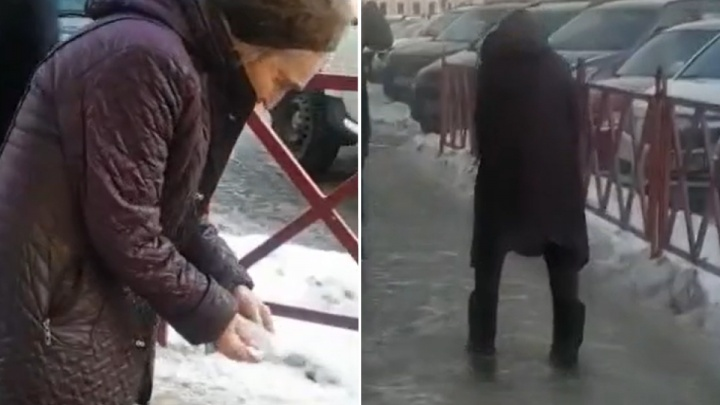 «Это отчаяние»: в Ярославле бабушка посыпала обледеневший тротуар солью. Видео