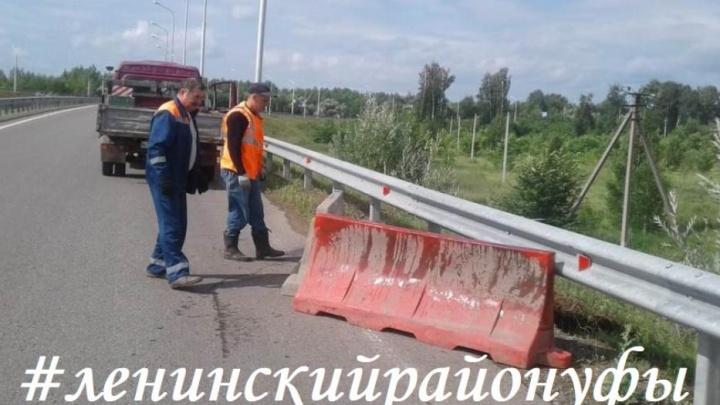 Дорога растаяла: второй раз после открытия в Уфе размыло Затонское шоссе