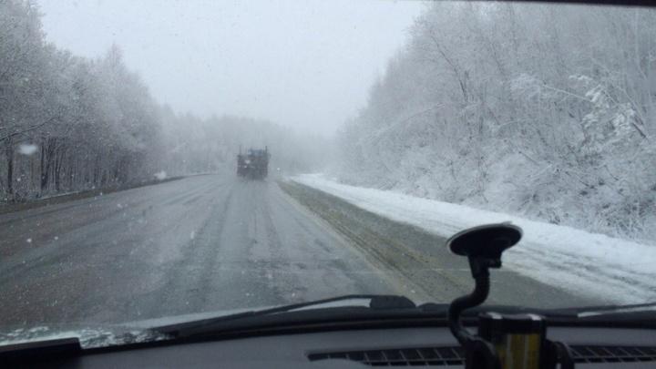 Люблю зиму в начале мая: трассу Уфа–Белорецк завалило снегом