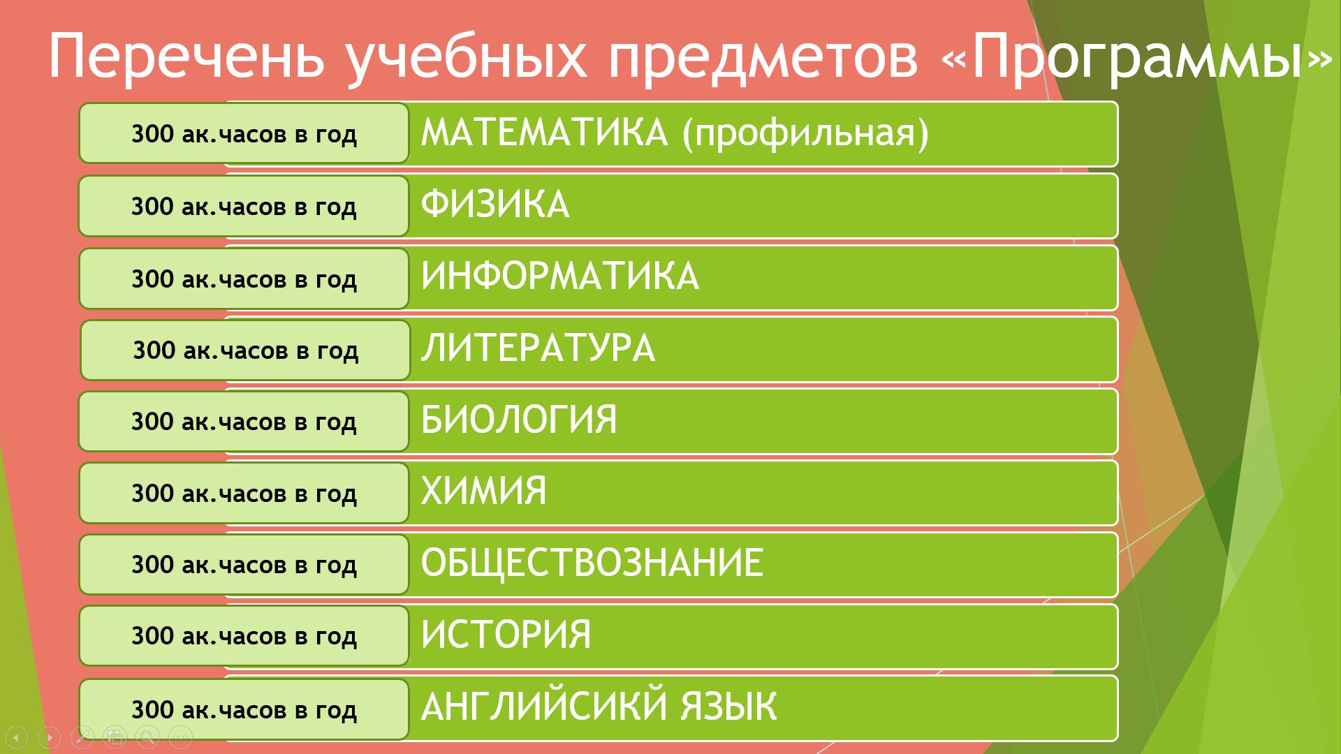 Перечень учебных предметов, включенных в «Программу софинансирования довузовской подготовки выпускников города Екатеринбурга»