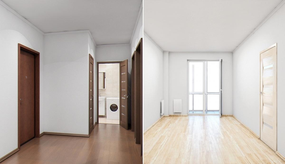 В квартирах высокопрочный ламинат и плитка Kerama Marazzi на полу и стенах ванной