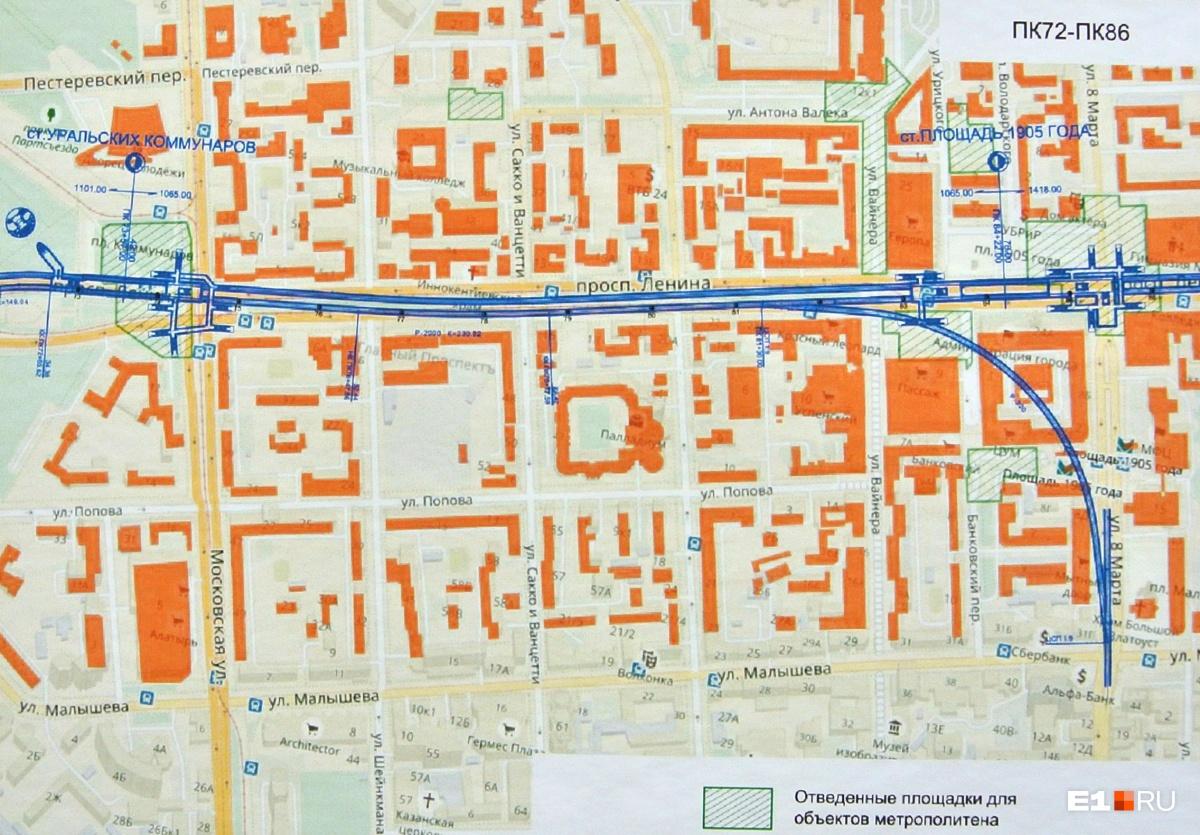 «Площадь 1905 года» на схеме