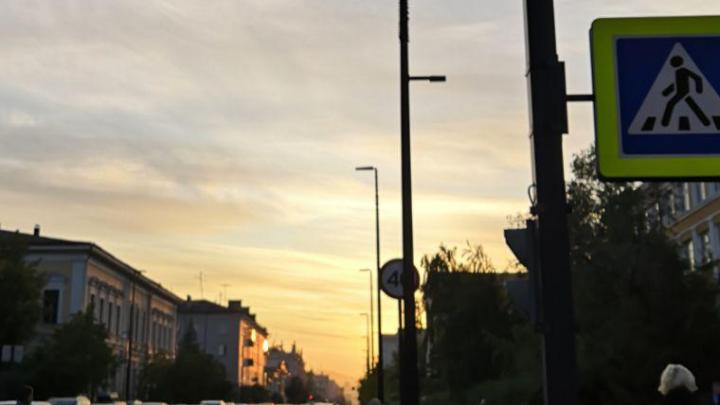 Красноярцы любуются нежным закатом в преддверии резкого потепления