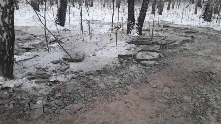 «Десять соток леса в бетонном панцире». В Тюмени попытались скрыть следы слива отходов со стройки