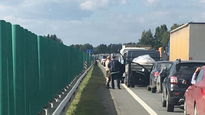Отмывали дорогу: авария с муковозом под Челябинском спровоцировала гигантскую пробку