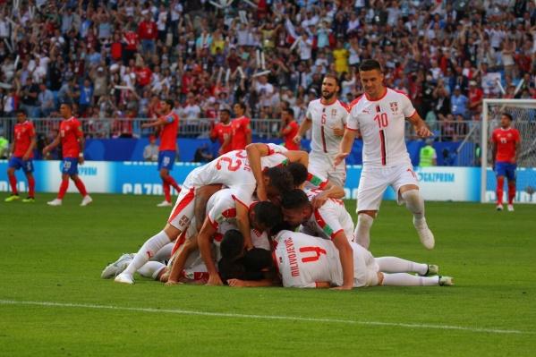 Сербы после забитого гола