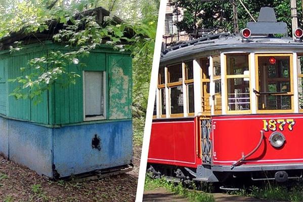 На фото слева изображено, как вагон выглядит сейчас — его используют как сарай. На фото справа то, как вагон должен выглядеть
