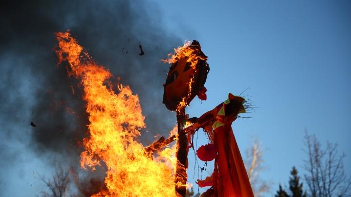Столбы, блины и горящие чучела: в Новосибирске отпраздновали Масленицу