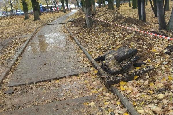 В парке у прудов разломали уложенный асфальт и бордюры