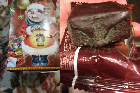 В яркой коробке дети обнаружили просроченные конфеты