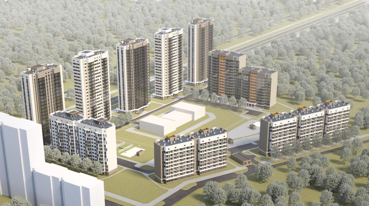 Эскиз комплекса «На Тенистой»: на Краснолесья фасадами выйдут целых пять 22-этажных «свечек», не считая домов в глубине квартала