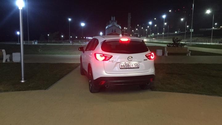 В мире животных: волгоградец покатался на внедорожнике Mazda по плитке сквера у «Гасителя»