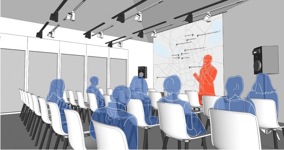Прямо в здании разместится лекторий, коворкинг и переговорная комната