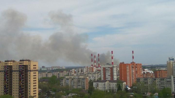 В районе Лесобазы горят трава и камыш. Сотрудники МЧС контролируют, чтобы огонь не ушел на дома
