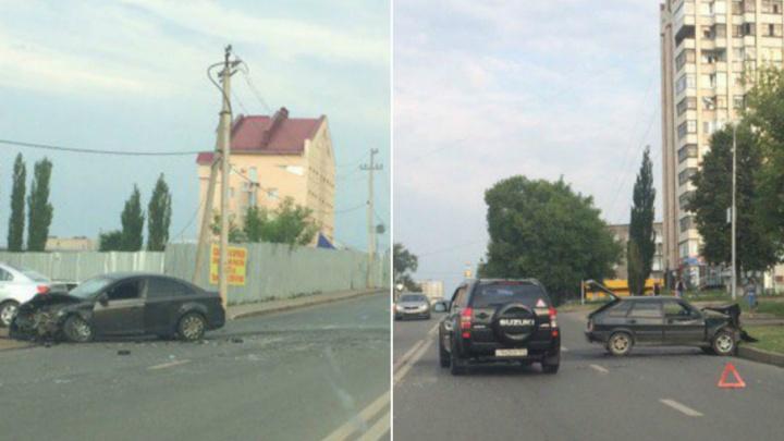 Жуткая авария в Уфе: лоб в лоб на большой скорости столкнулись две легковушки