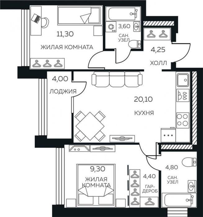 Такая планировка идеальна для молодой семьи: мастер-спальня и детская разделены кухней-гостиной