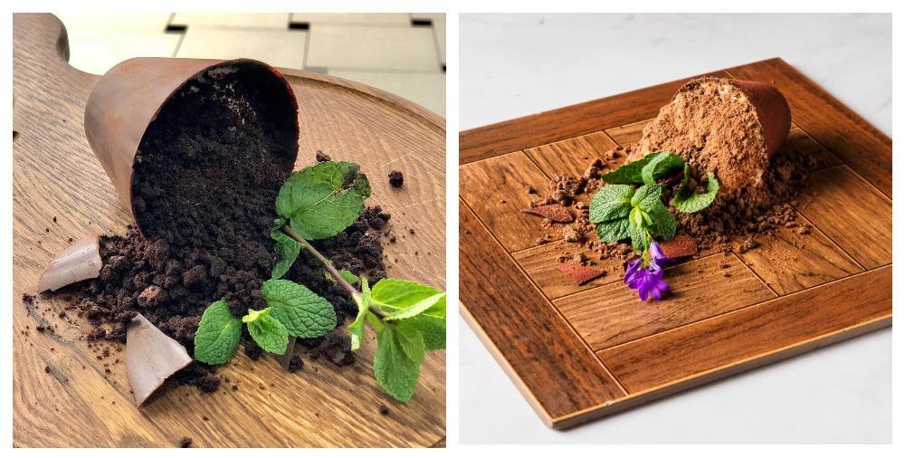 Слева десерт из нашего ресторана «Труффальдино», а справа — десерт Игоря из ресторана «Кококо»