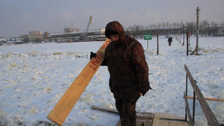 Тает лед: в Архангельске закрыли транспортную переправу на остров Хабарка