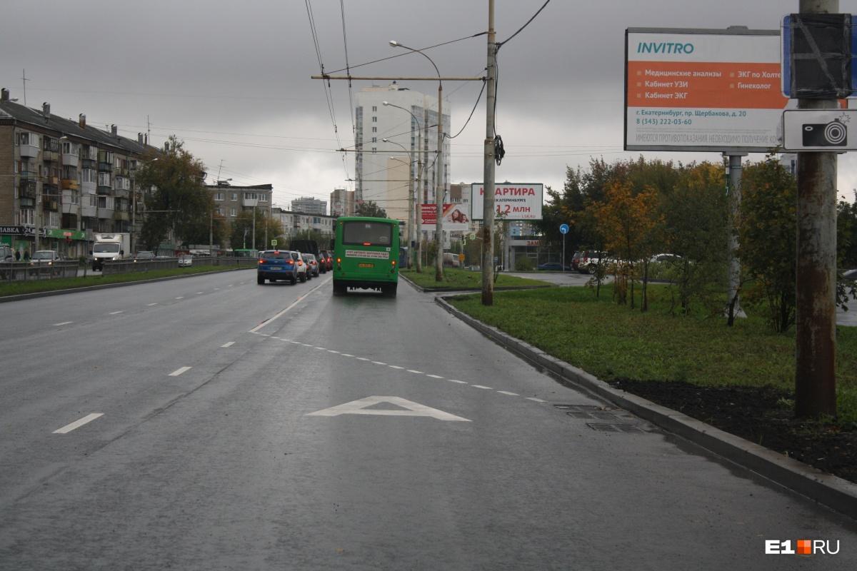 В середине сентября на Щербакова также появились выделенные полосы для автобусов и троллейбусов