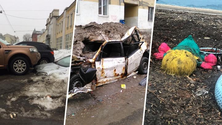 Веснакалипсис сегодня: оттепель оголила заснеженный хлам в Самаре