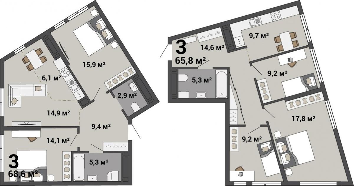 Необычные угловые квартиры дают много возможностей для зонирования пространства