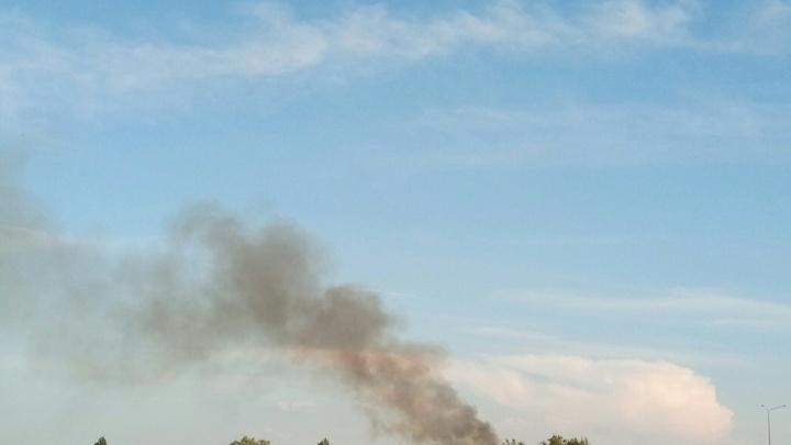 Черный дым над Солёным озером: в Батайске загорелась трава