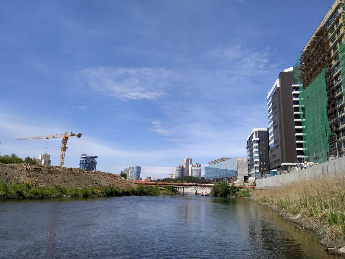 У реки сейчас работает много кранов