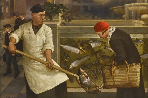 Картина Юлия Клевера «В рыбном магазине» написана для выставки «Пищевая индустрия» 1939 года и демонстрировала успехи в освоении рыбных ресурсов страны