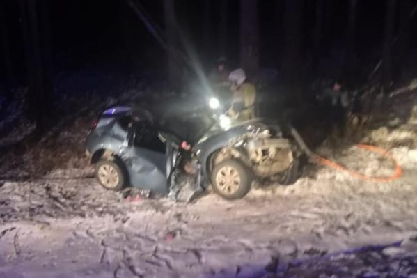 Машина врезалась в дерево