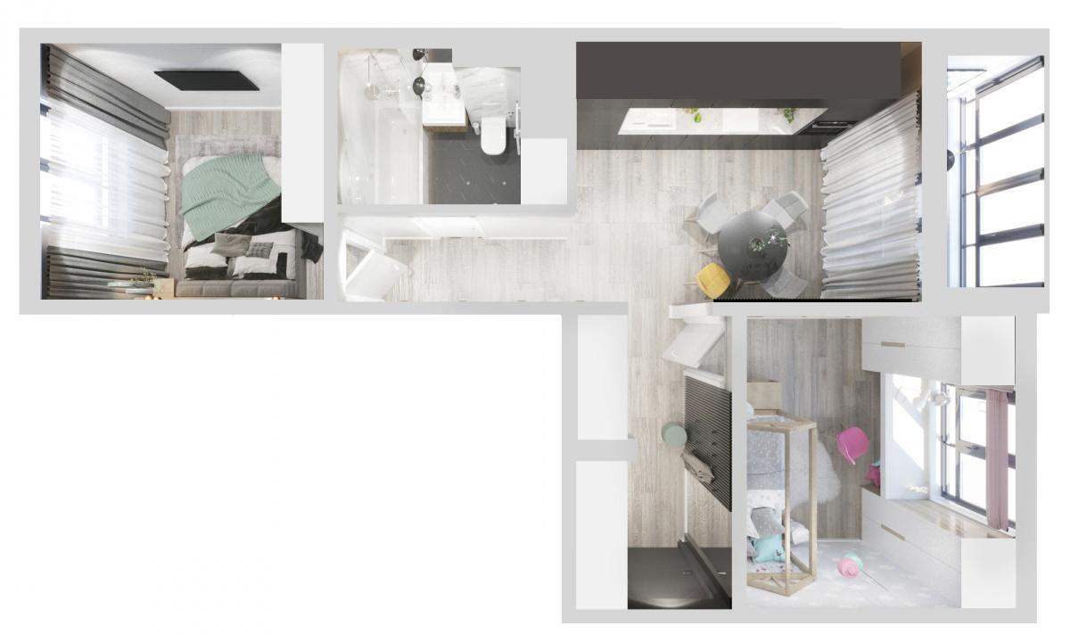 Проект квартиры в ЖК «Меридиан». Ее дизайнер сделал максимально светлой