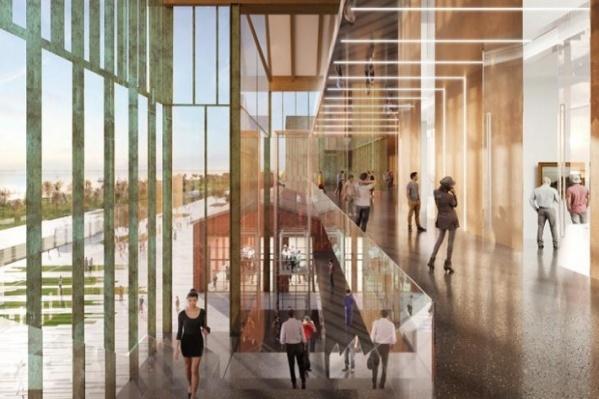 Одну стену галереи планируют сделать прозрачной, через нее будет видна панорама реки