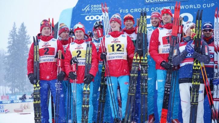 Тюменские лыжники Белов, Большунов и Спицов взяли на этапе Кубка мира золото и серебро