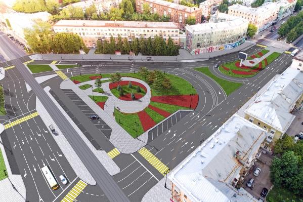 В центре Комсомольской площади появятся сквер и трамвайная остановка