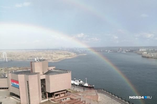 Двойная радуга в центре Красноярска