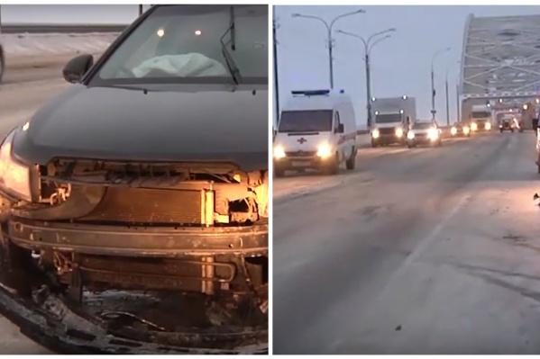 Остановить водителя удалось, когда он столкнулся с ограждением Краснофлотского моста