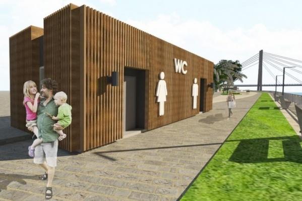 Общественный туалет будет выполнен в едином стиле с набережной
