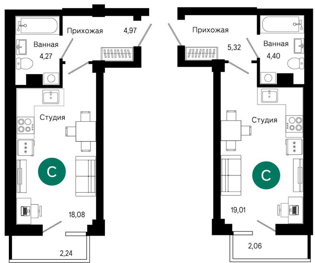 Планировки квартир-студий