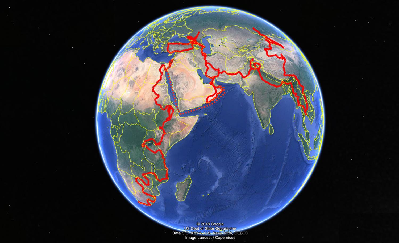 Так выглядит общий маршрут кругосветного путешествия