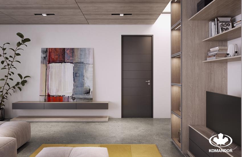 Гостиная в стиле минимализма, стенка и подвесные ящики