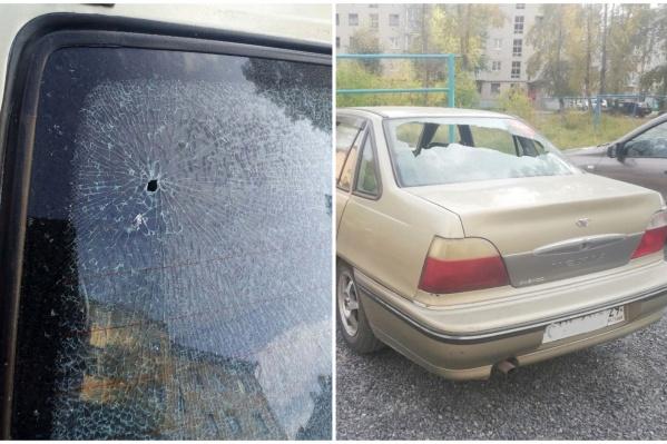 Так выглядела машина Анны сегодня утром<br>