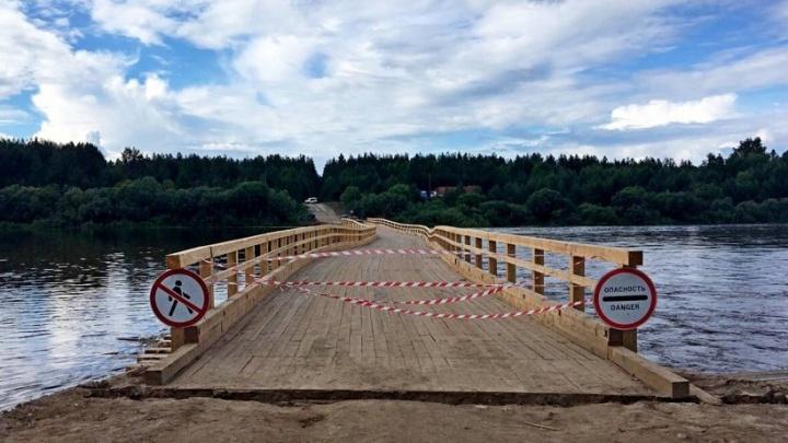 Низководный мост через Вагу, проработавший всего две недели, восстановят к концу июля