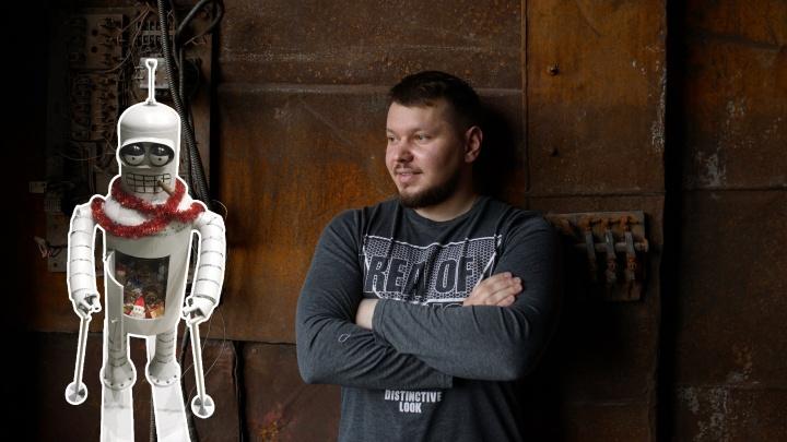 Тюменец получил задание сделать новогоднюю игрушку и сварил 200-килограммового робота из «Футурамы»