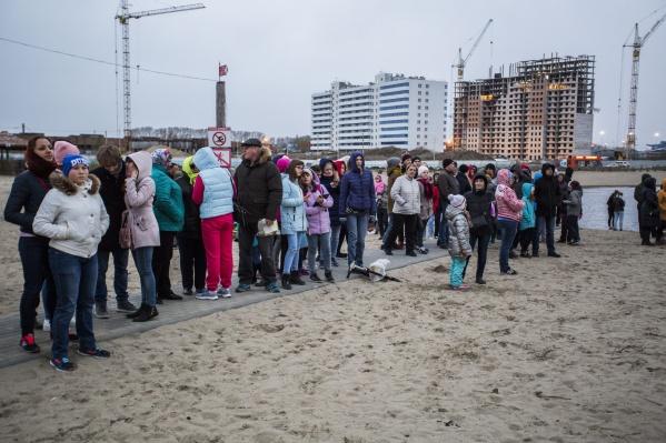 На озере собрались десятки новосибирцев в надежде запустить фонарики