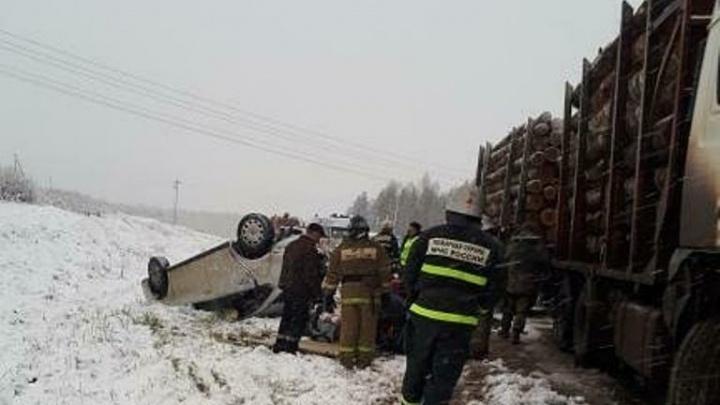 В Пермском крае столкнулись легковушка и лесовоз: пострадали три человека
