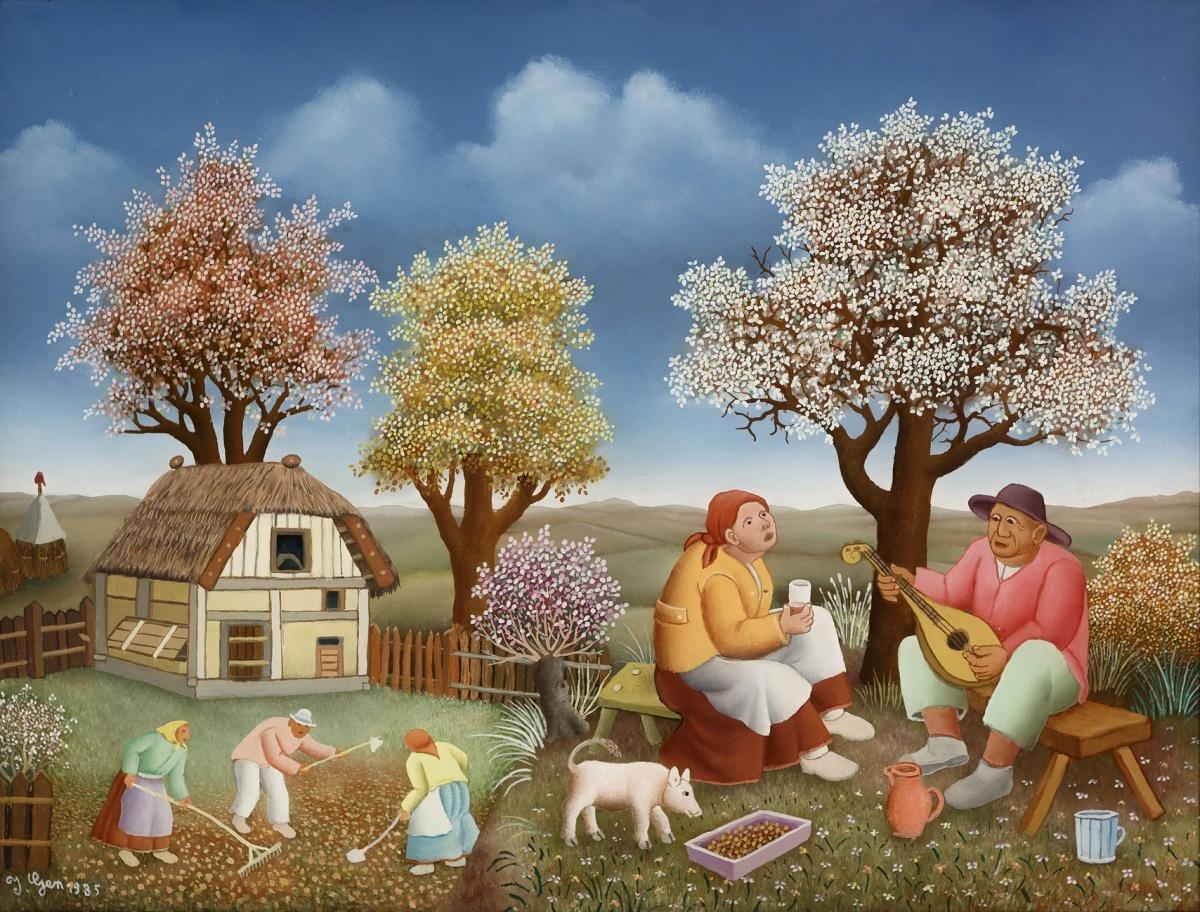 Работа «Деревенская жизнь», автор Иван Генералич